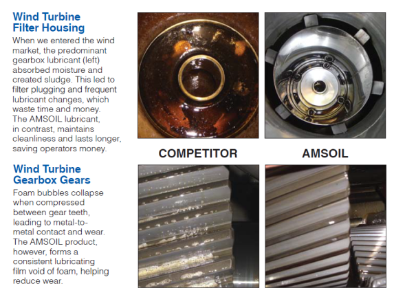 Comparison of AMSOIL gear lube to that of a competitor gear lube